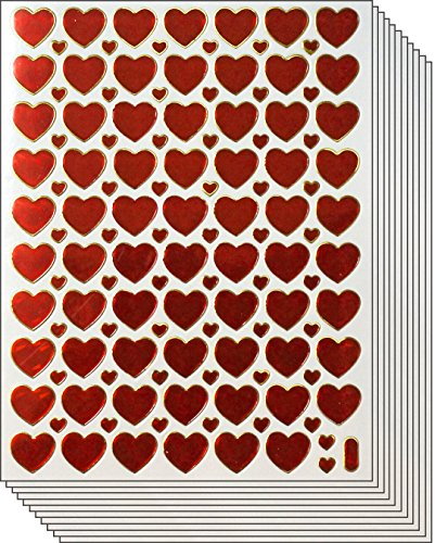 Jazzstick Valentine's day Red Heart Stickers 10 sheets (VST01A17)]()
