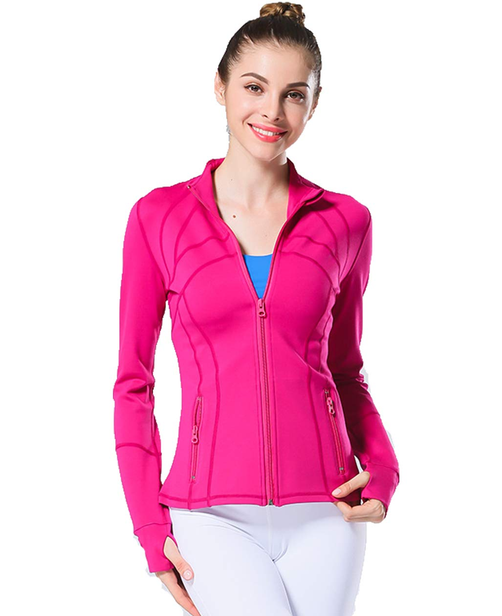UDIY Fitness Zipper Jacket for Women Sports Exercise Active Jackets Coat Rose by UDIY