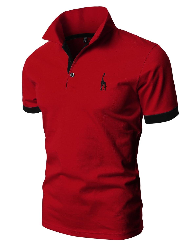 【H2H】 メンズ カジュアル ゴルフウェアー ファッション ベーシック 無地 スリームフィット ワンポイント 半袖 ポロシャツ B078XRWYYG Large|Jdsk36-redblack Jdsk36-redblack Large
