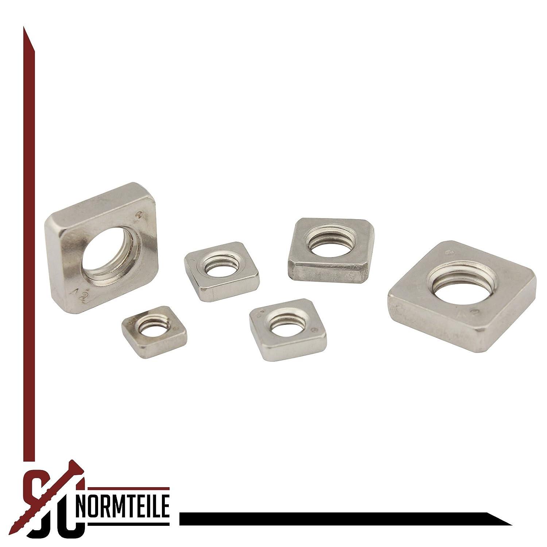- M3 - niedrige Form Vierkantmuttern V2A - Einlegemutter - DIN 562 Edelstahl A2 25 St/ück SC-Normteile/® SC562