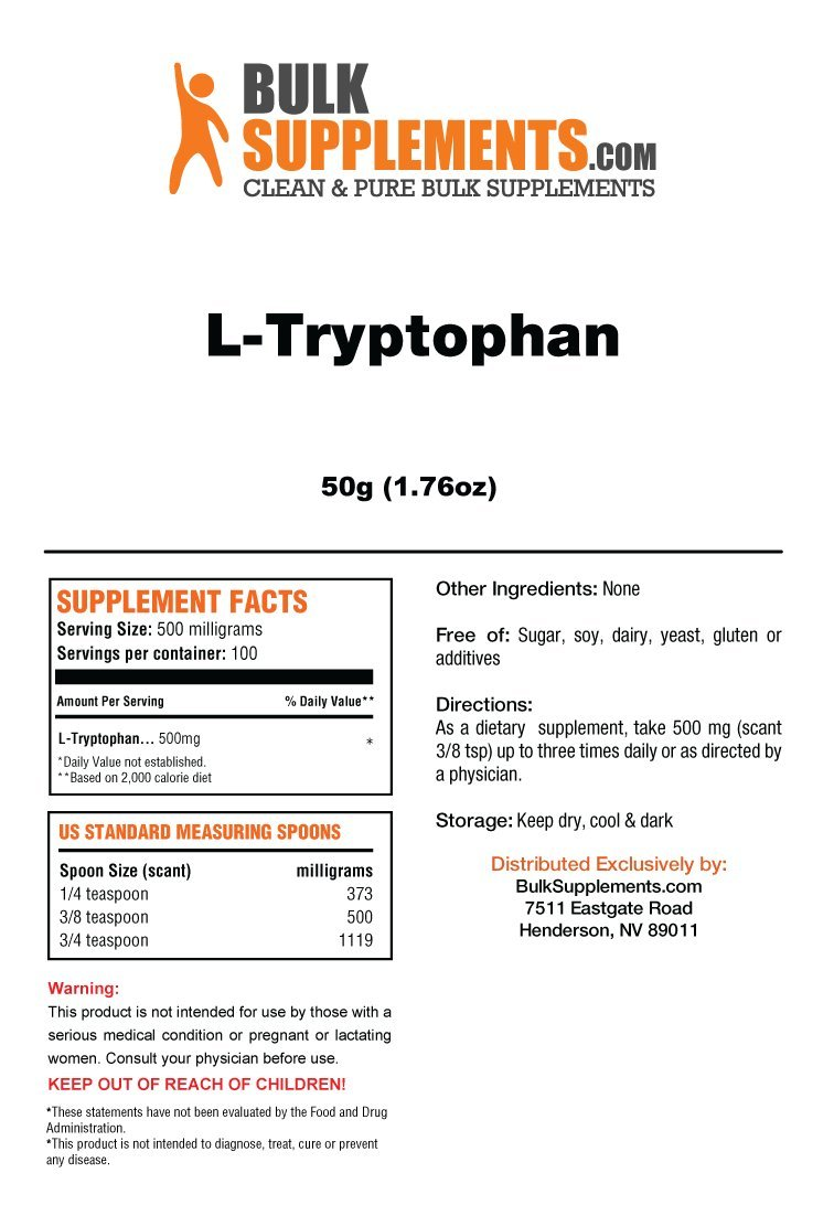 Amazon.com: BulkSupplements L-Tryptophan Powder (100 grams): Health & Personal Care