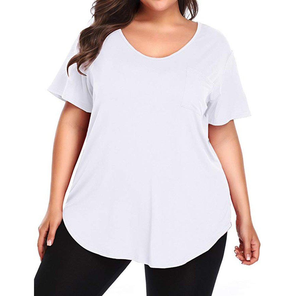 YOcheerful Women Plus Size Blouse Loose Shirt V Neck Tops Tee Sexy Crops