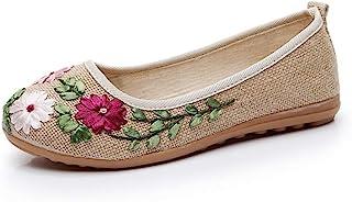 YOPAIYA Espadrilles Plat Loafers Fleur Grise Chaussures Femelle Broderie Nationale À La Main Chaussures Femme Peu Profonde Femmes Square Dance Chaussures Plates Tendon Bas