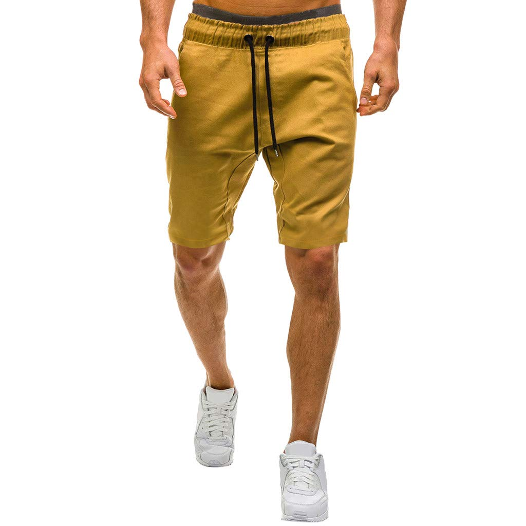 Shorts for Men, F_Gotal Men's Casual Plain Drawstring Elastic Waist Sports Pants Training Jogger Shorts Sweatpants Khaki
