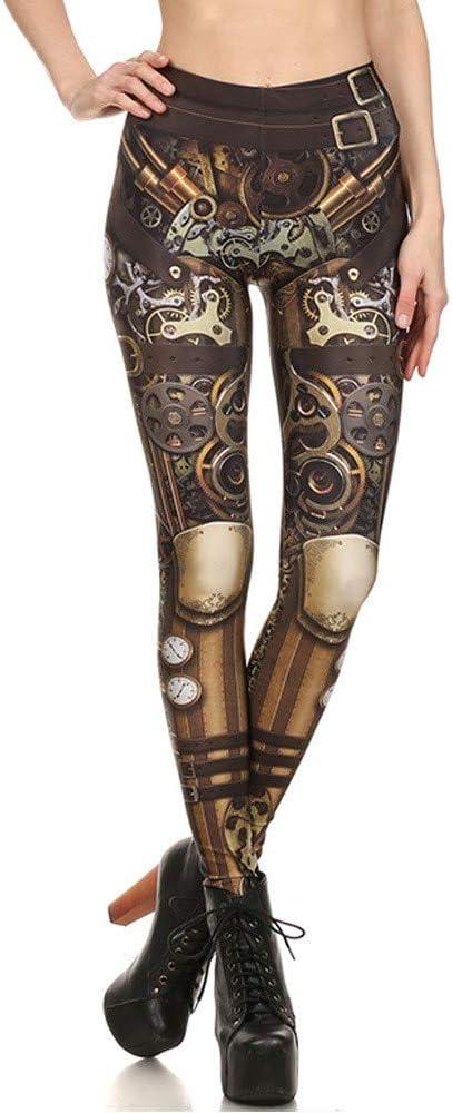 KUDALL Medias Leggings Gimnasio Yoga Pantalones Deportivos Estiramiento Delgado Leggings Gris-Amarillo Armadura Personalidad Impresión Digital Caderas De Cintura Alta Mujer Trouse