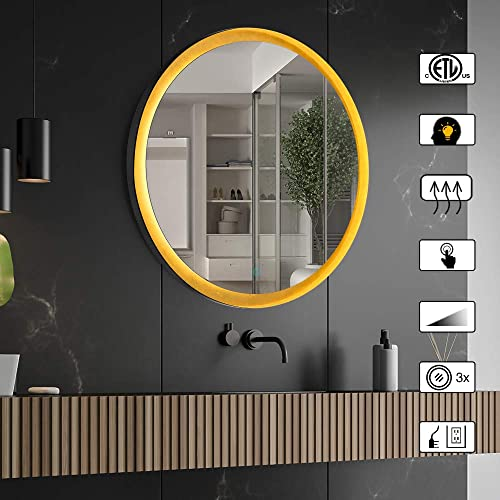 CITYMODA 32inch Large Round Mirror with Light, LED Bathroom Wall Mounted Mirror, Black Metal Frame Mirror, Gold Vanity Mirror, Memory Touch Dimmer Switch, Defogger, IP44, Color Temperature Adjustable