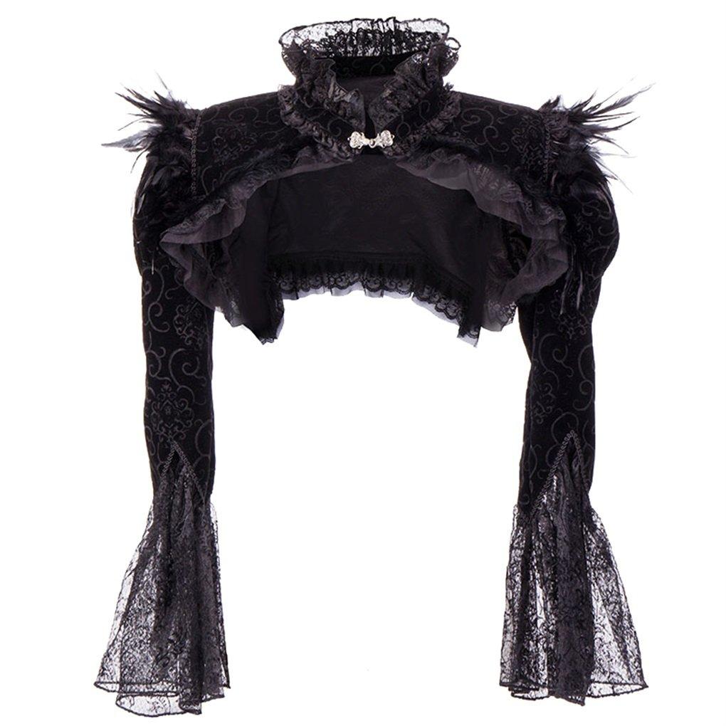 Gothic Lace Shrug Flannel Long Sleeve Retro Bolero Steampunk Vintage Jacket Feather Short Coat