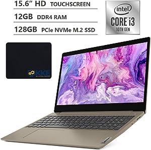 "2020 Newest Lenovo Ideapad 3 (S145 Updated Version) Laptop, 15.6"" HD Touchscreen, 10th Gen Intel Core i3-1005G1 Processor, 12GB Memory, 128GB SSD, HDMI, Wi-Fi, Webcam, Windows 10, KKE Mousepad, Almond"