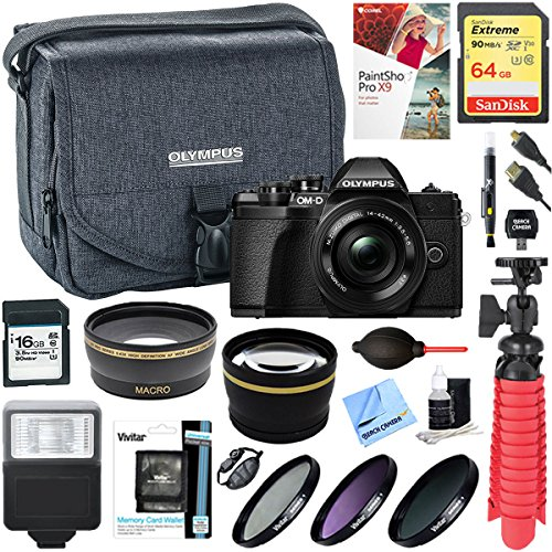 Olympus E-system Travel Bag (Olympus OM-D E-M10 Mark III Mirrorless Digital Camera + 14-42mm Lens & Deluxe Accessory Kit with Olympus 16GB SD Memory Card & Camera Case (Black))