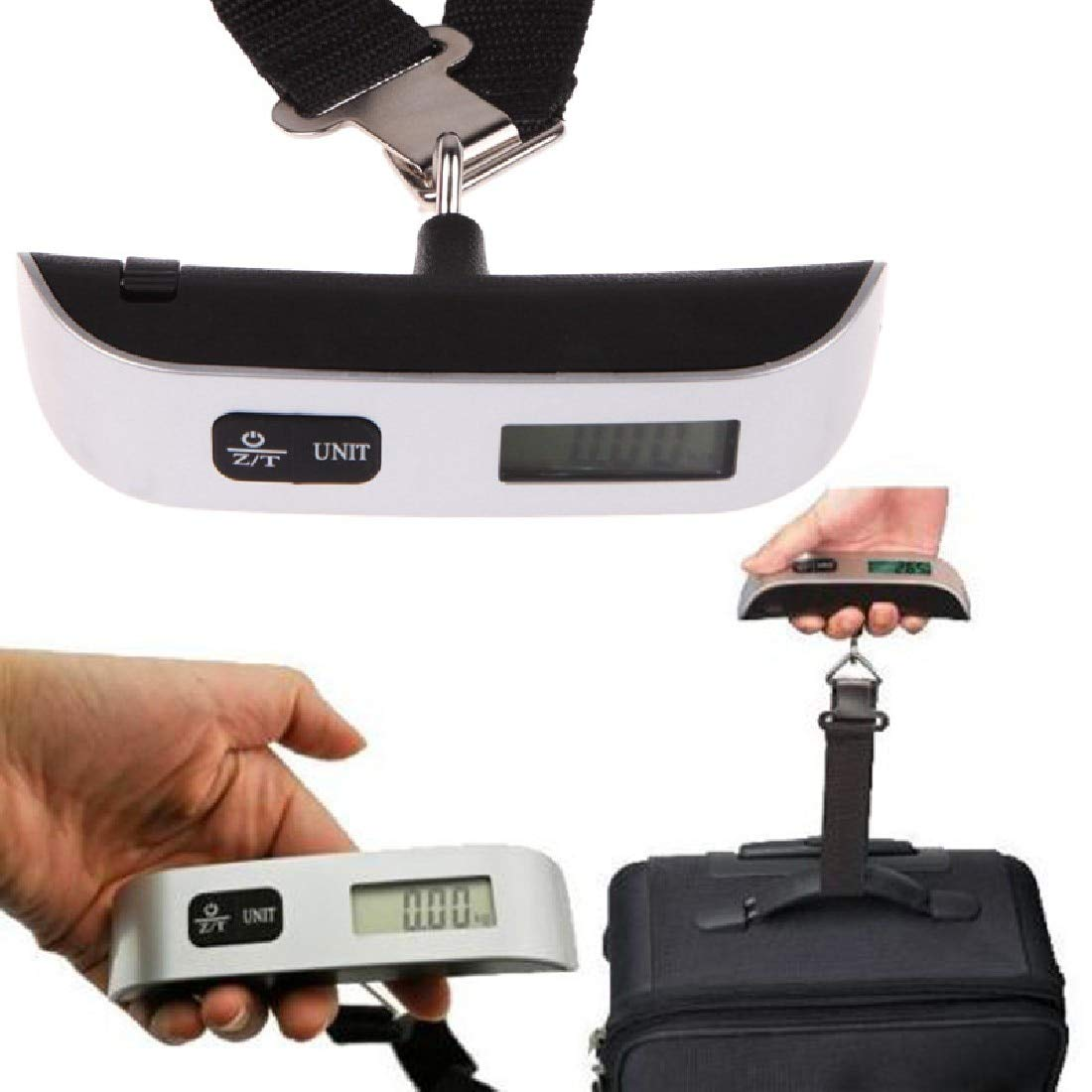Luwu-Store 50kg Bagage Balance électronique numérique Balance Portable Valise Sac de Voyage Balance Suspendue Balance Poids thermomètre Affichage LCD