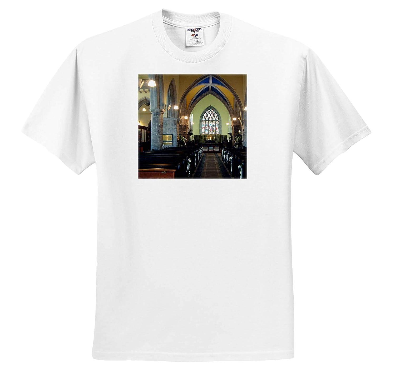3dRose Jos Fauxtographee Chapel Inside in London an Amazingly Beautiful Stain Glass Chapel Window in London T-Shirts