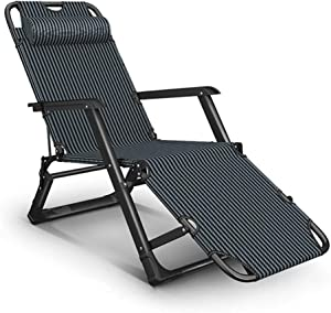 Heavy Duty Garden Chair Zero Gravity Sun Lounger Foldable, Reclining Recliner Chairs Chaise Lounge Deckchairs Waterproof and Lightweight Metal for Patio Furniture Outdoor Office, 178x67x25cm, Blue L10