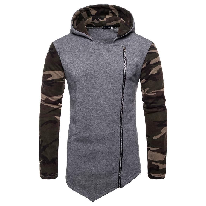 SayahMen Patched Hood Zipper Long Sleeve Camouflage Outwear Casual Sweatshirts