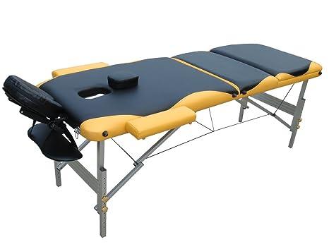Distanza Panca Da Tavolo : 3 zone per massaggio sedia a sdraio in alluminio giallo nero per