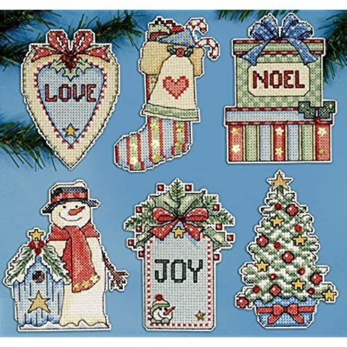 design works cross stitch kit country christmas ornaments6 on plastic canvas - Plastic Canvas Christmas Ornaments