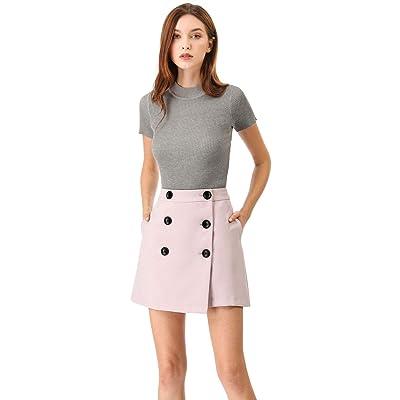 Allegra K Women's Button Up Mini Skirts High Waist Short Wrap Skirt at Women's Clothing store