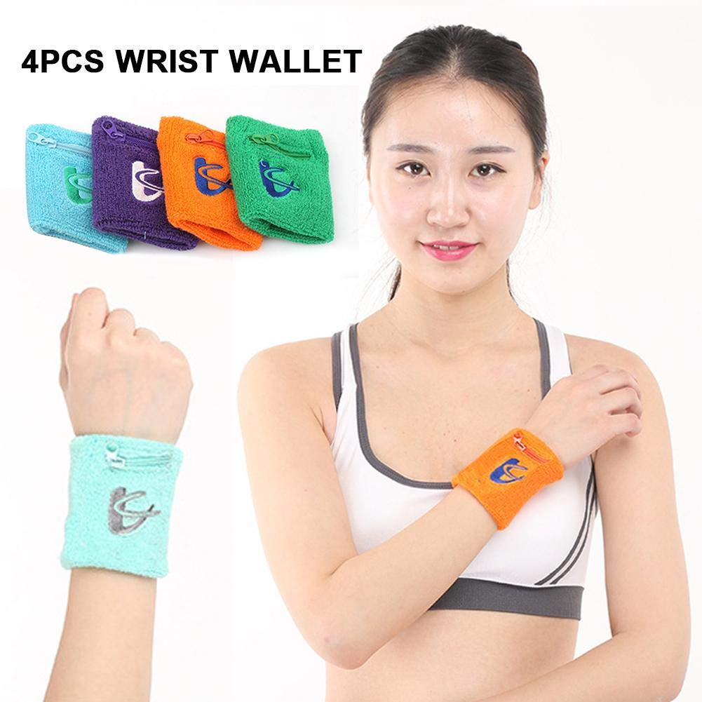 tidystore 4PCS Zipper Sweatband with Pocket Cotton Wristband Ankle Wallet Stretch Wrist Pocket for Running Walking Basketball Tennis Hiking