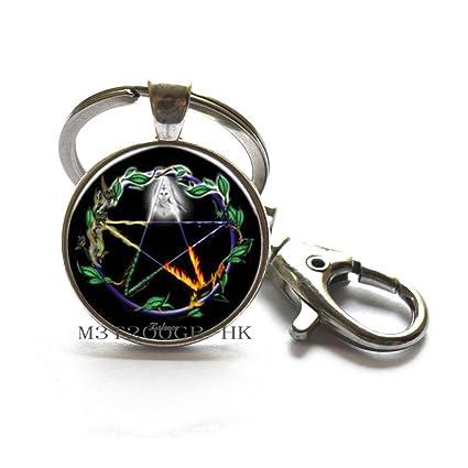 Pentagram - Llavero con diseño de pentagrama y pentagrama ...
