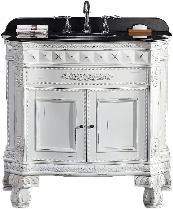 Ove Decors York 36 Vanity With Black Granite Countertop And 18 Oval Undermount Basin 36 Inch Antique White Gold Amazon Com