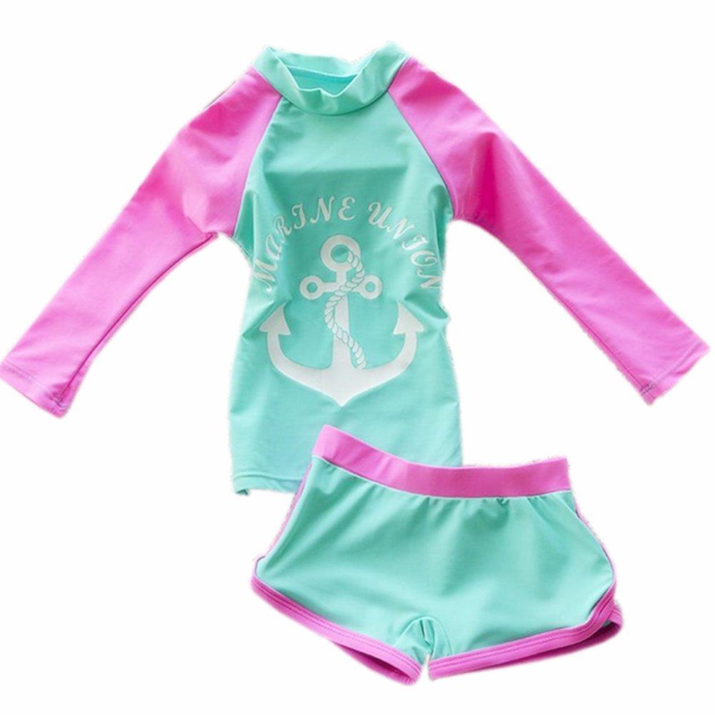 ZYZF Kid Girl Tankini Bikini Swimwear Long Sleeve Swimsuit Rash Guard UPF 50+ UV 20160614059