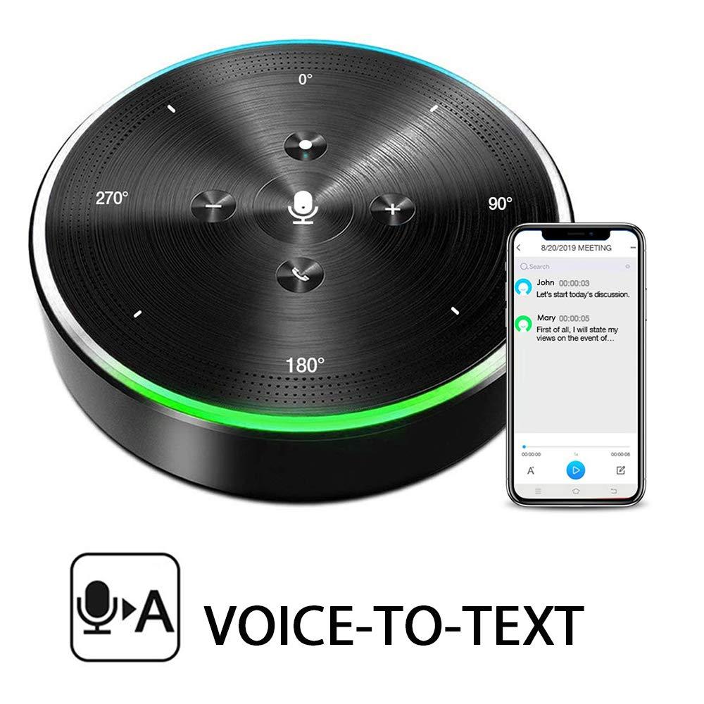AI Voice-to-Text Speakerphone- eMeet Note N1 Smart WiFi/Bluetooth Speakerphone Conference Speaker Role-Based & Directional Recording 4 omnidirectional Microphones 360° Voice Pickup, skype Speakerphone by eMeet