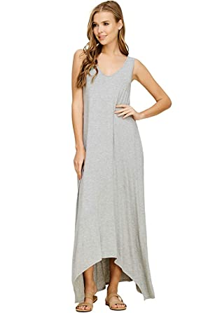 198733fa0737d Image Unavailable. Image not available for. Color: okdress Women's Casual V  Neck Sleeveless Tank Top Long Maxi Dresses with Pockets