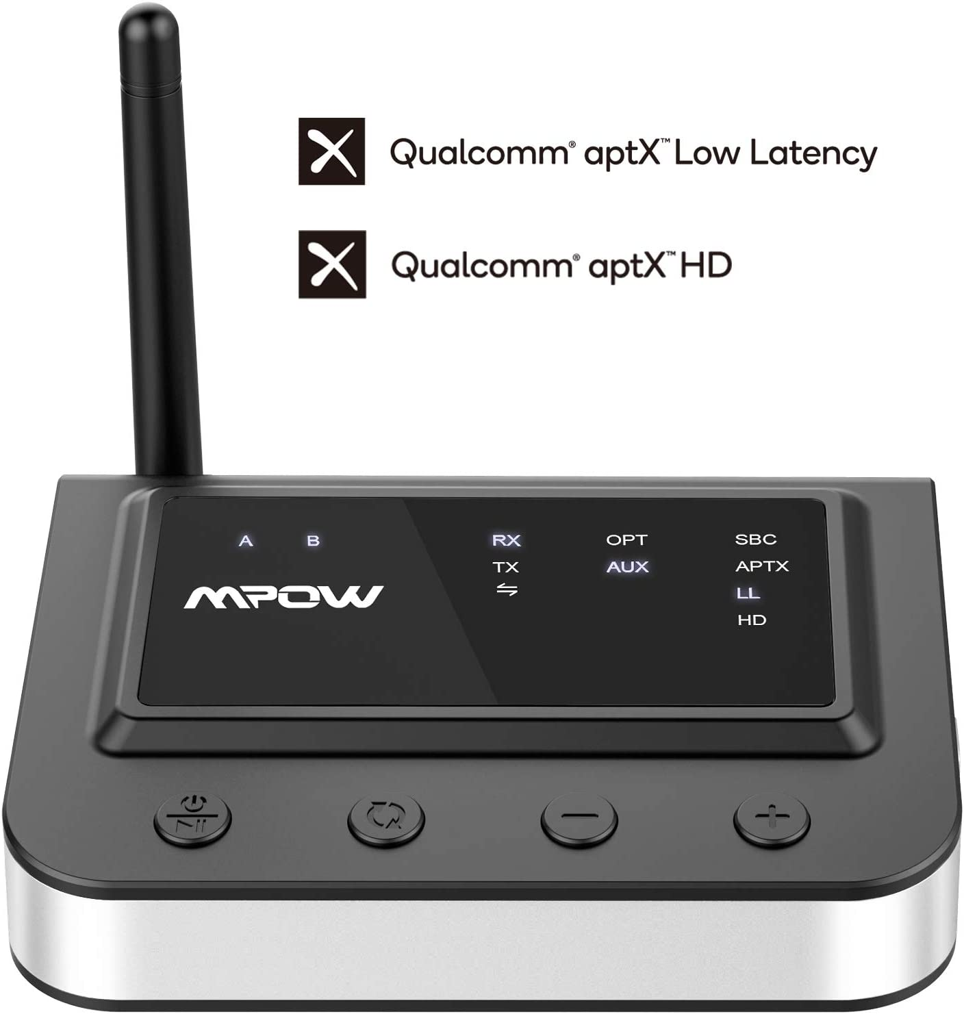 Mpow 164Ft Long Range Bluetooth 5.0 Transmitter Receiver, Hi-Fi Sound Bluetooth Transmitter for TV with Optical Digital, RCA & 3.5mm Aux, Bluetooth Audio Adapter with Hi-Fi Sound for Home Stereos