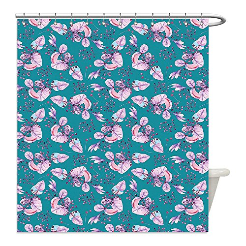 Bunch Of Grapes Costume Ideas (Liguo88 Custom Waterproof Bathroom Shower Curtain Polyester Turquoise Decor Collection Floral Pattern with Bunch of Grapes Like Flowers and Berries on the Branch Boho Print Teal Purple Decorative bat)