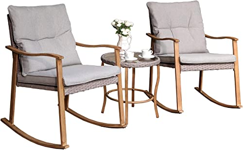 COSIEST 3 Piece Bistro Set Patio Rocking Chairs Outdoor Furniture Faux Woodgrain w Warm Gray Cushions, Round Glass-Top Table for Garden, Pool, Backyard