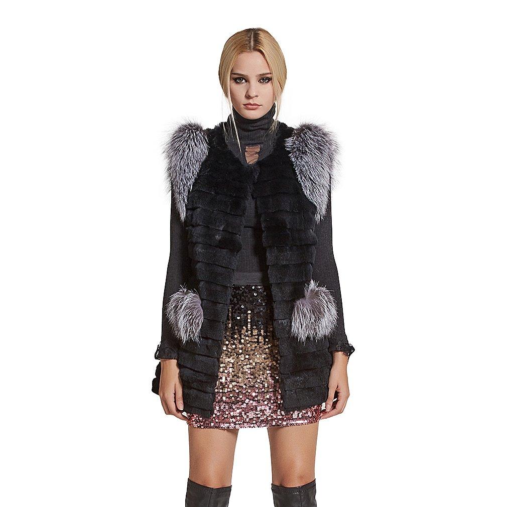 Fur Story Women's Real Rex Rabbit Fur Vest with Silver Fox Fur Shoulder Sleeveless O Neck US6 (Black)