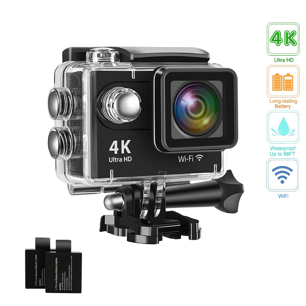 Action Camera 4K 16MP Underwater Waterproof Camera 170° Wide Angle WiFi Sports Cam with 2 Batteries and Mounting Accessories Kit ... by Davola