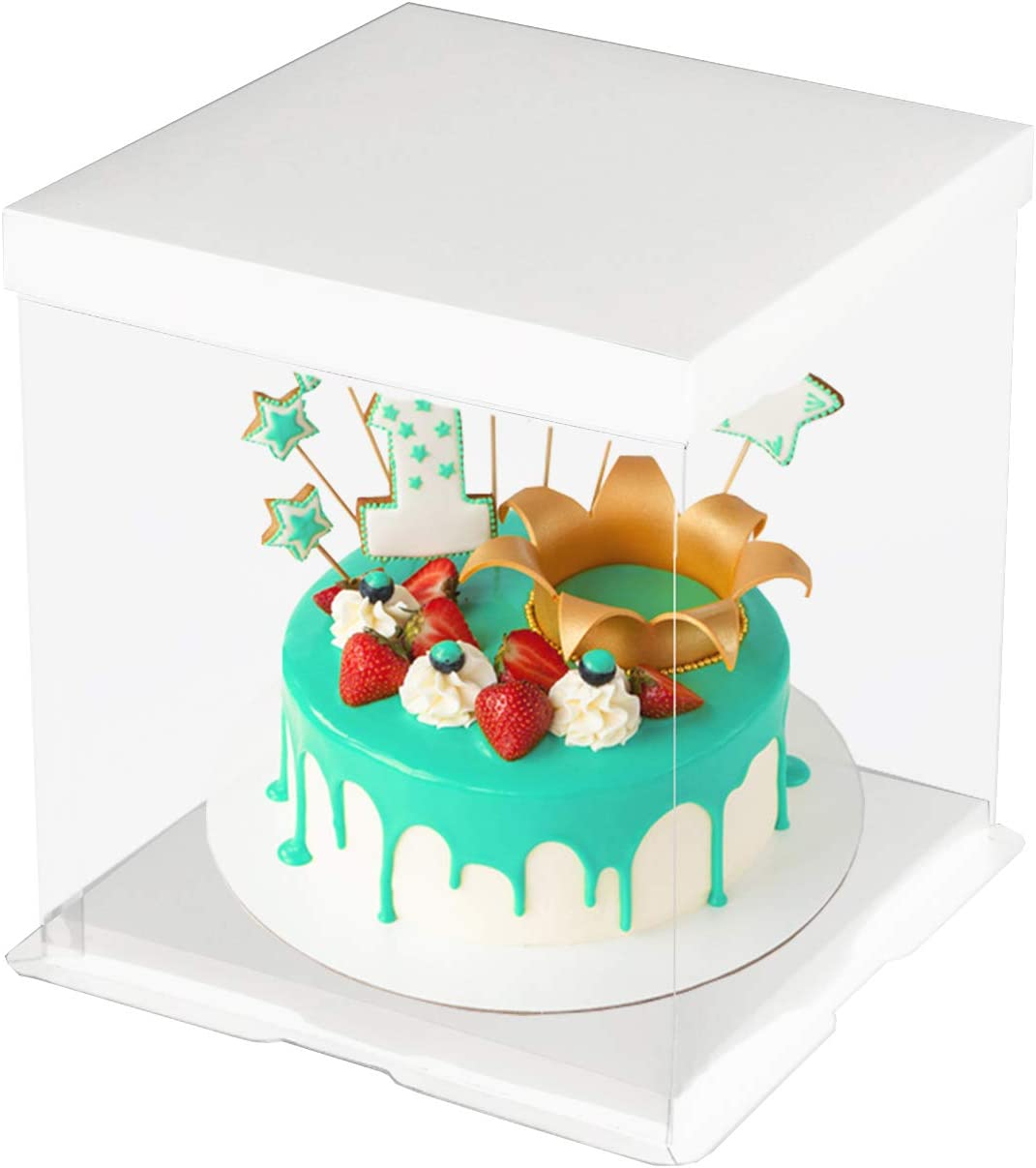 Miraculous Amazon Com Codohi 6 Packs Clear Plastic Birthday Cake Carrier Funny Birthday Cards Online Fluifree Goldxyz