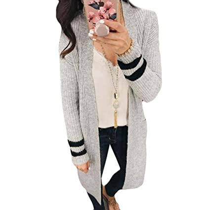 8b5947cd Kstare New Women Fashion Autumn Winter Long Sleeve Loose Casual Striped Sweater  Cardigan Coat (Gray