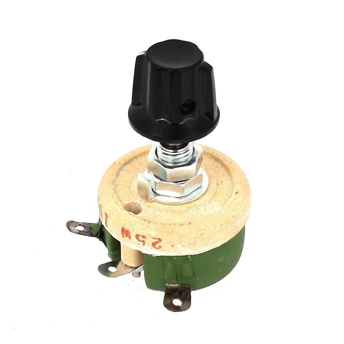 sourcingmap 25W 100 Ohm Round Ceramic Wirewound Potentiometer Resistor Rheostat a15010800ux0432