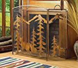 Fireplace Screens Rustic Spark Guard Decorative Three Panel Flat Wrought Iron Bronze Antique Mesh Screen For Sale