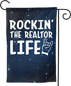 "CHANGQUDD Rockin' The Realtor Life Garden Flag Welcome Banner for Patio Lawn Party Yard Home Outdoor Decor, On Both Sides, 12.5""X18"" / 28""X40"""