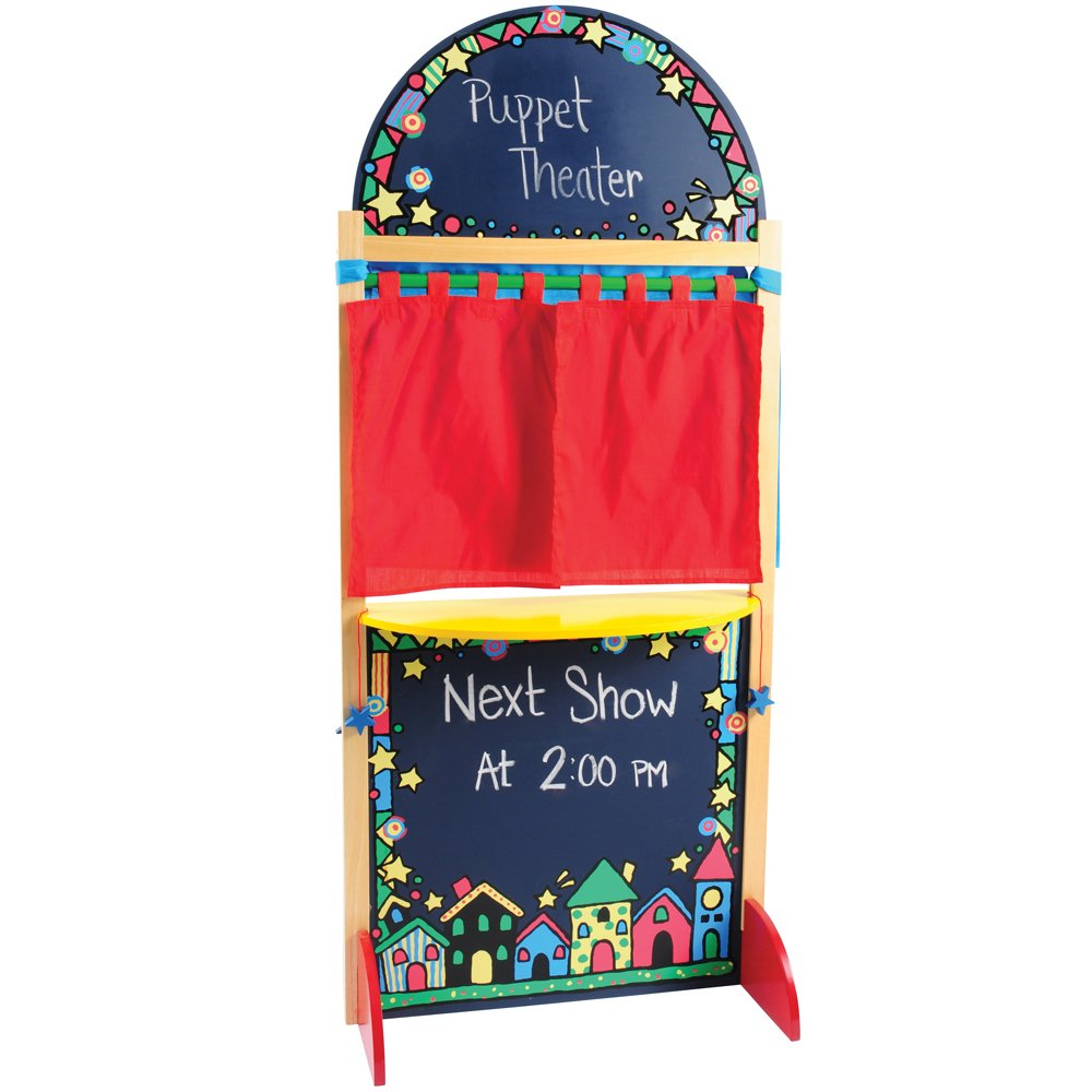 CP Toys Kid-sized Hardwood Puppet Theater with Chalkboard by Constructive Playthings (Image #2)
