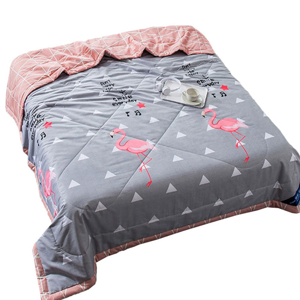 Blancho [100% Cotton] Simple Grey Letter And Animal Printed Cozy 1PC Twin Comforter