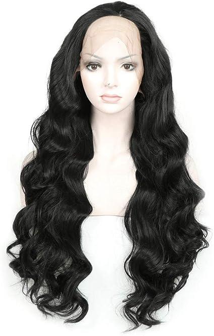 Peluca larga negra de encaje rizado suelto frontal de 24 pulgadas de largo, peluca sintética completa para mujer: Amazon.es: Belleza