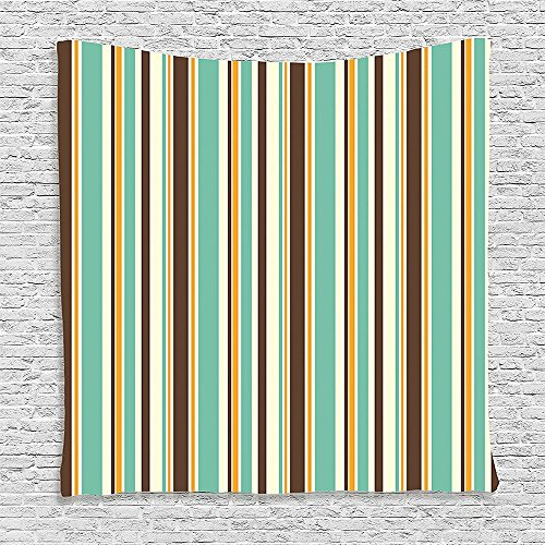 SCOCICI Supersoft Fleece Throw Blanket Striped Decor Funk Art Nostalgic Lash Strokes with Earthen Tones Blow Fashion Graphic Brown Teal 59 x 59 Inches (Emergency Blow Up Bed)