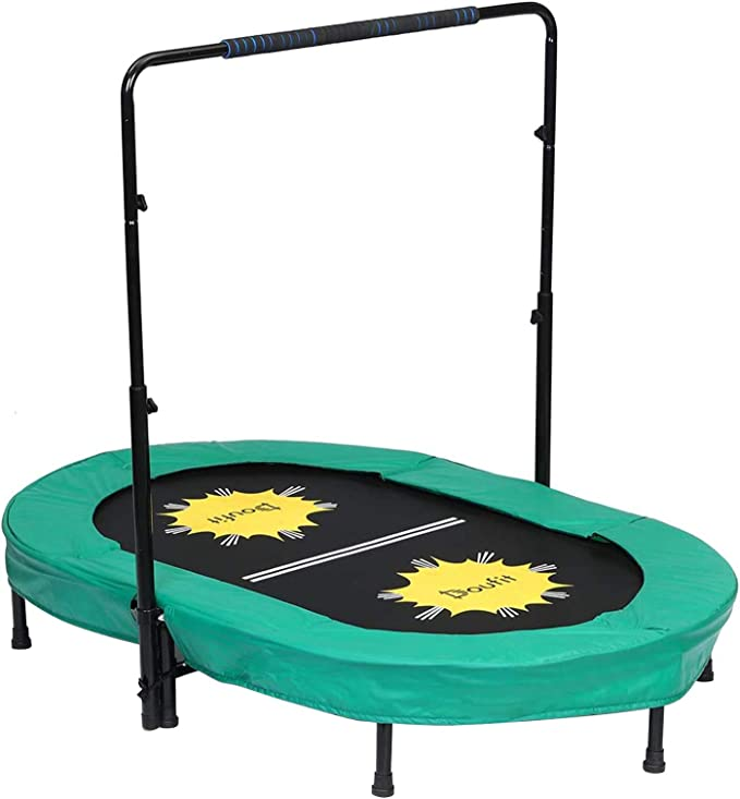 DouFit Trampoline for 2 Kids and Adults with Adjustable Handle - Two-Way Trampoline