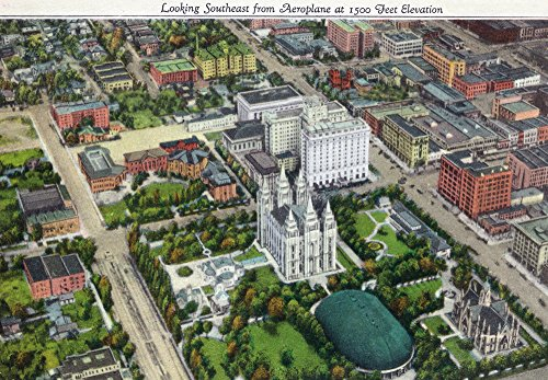 Salt Lake City, Utah - Southeastern Aerial View of the Mormon Temple and Grounds (16x24 Fine Art Giclee Gallery Print, Home Wall Decor Artwork Poster)