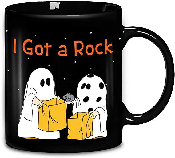 The Red Circle Halloween Great Pumpkin Charlie Brown Ghost I Got A Rock Coffee Mug 11oz Kitchen Dining Amazon Com