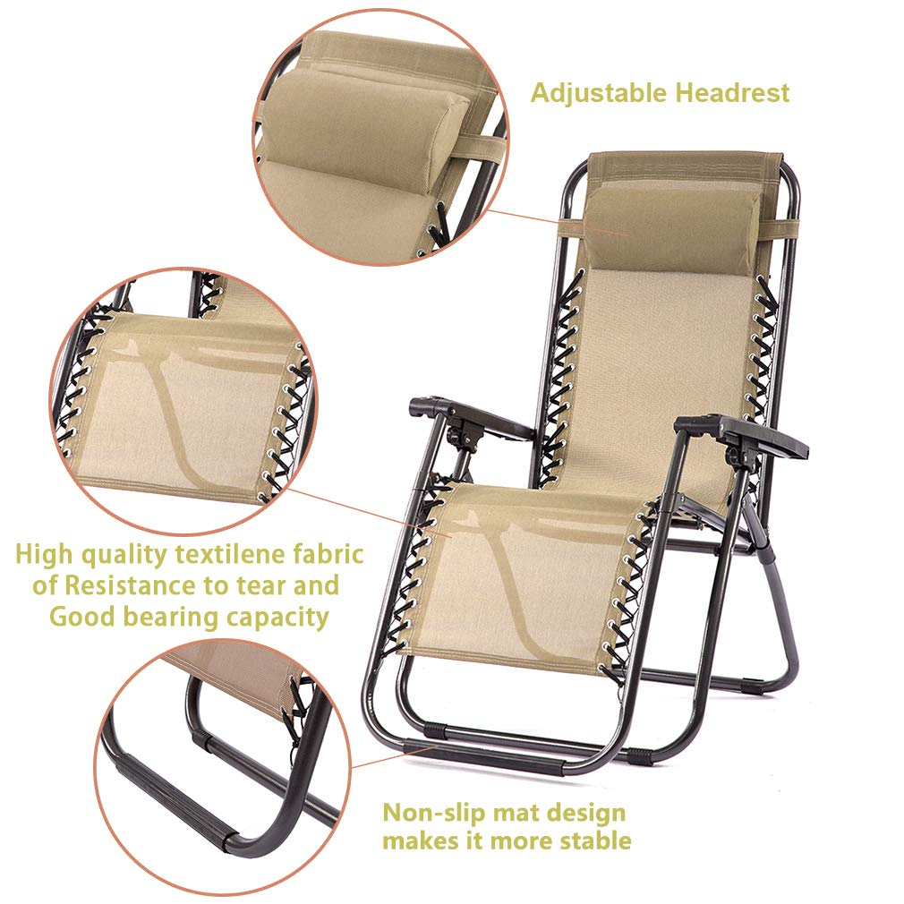 FDW Set of 2 Zero Gravity Chairs Lounge Patio Chairs Outdoor Yard Beach (Tan) by FDW (Image #6)