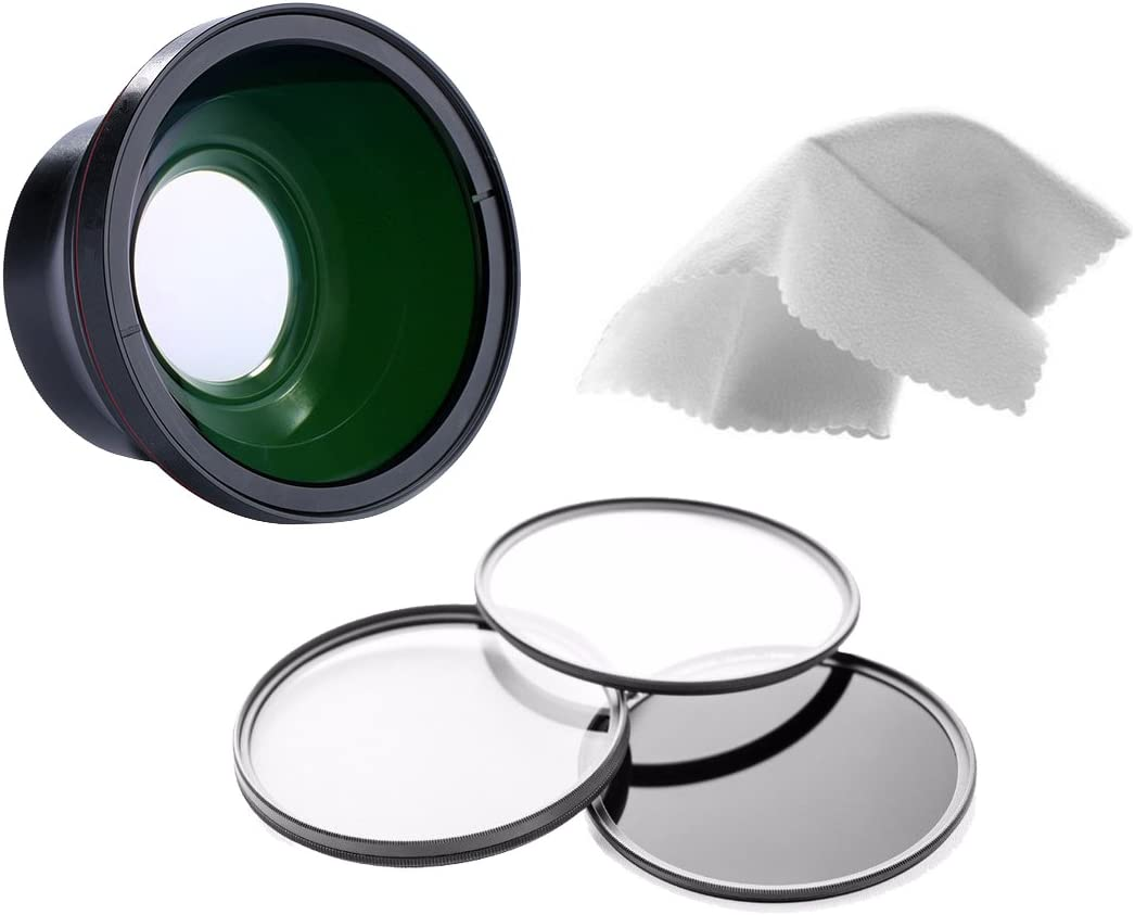 Sony Cyber-Shot DSC-RX10 0.43X High Definition Super Wide Angle Lens w//Macro Stepping Ring 62-58 62mm 3 Piece Filter Kit Nwv Direct Micro Fiber Cleaning Cloth