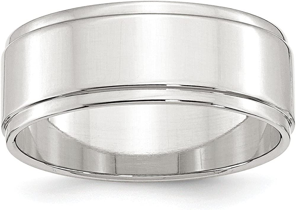 Wedding Bands Classic Bands Flat Bands w//Edge SS 8mm Flat with Step Edge Size 10 Band Size 6