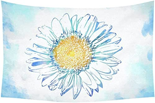 INTERESTPRINT Watercolor Wall Art Home Decor, Daisy Flower Floral Blue Tapestry Wall Hanging Art Sets 60 X 40 Inches