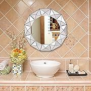 Tangkula 31.5  Wall Mirror Round Sunburst Wooden Mirror Bathroom Home Vanity Mirror
