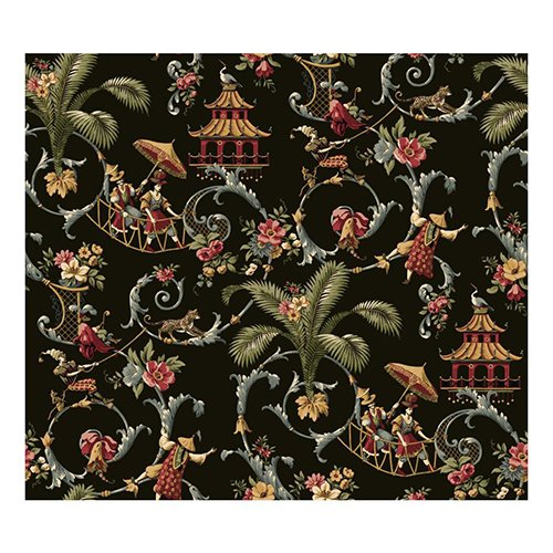 (York Wallcoverings WA7769 Waverly Classics Mandarin Prose Wallpaper, Black/Gray/Crimson/Caramel/Cream/Sage)