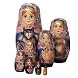 Bits and Pieces - 8 Pc Russian Nesting Dolls - The Cat Ladies - Hand Painted Hand Made Wooden Nesting Dolls Matryoshka Figurines - Set of 8 Dolls from 5.5